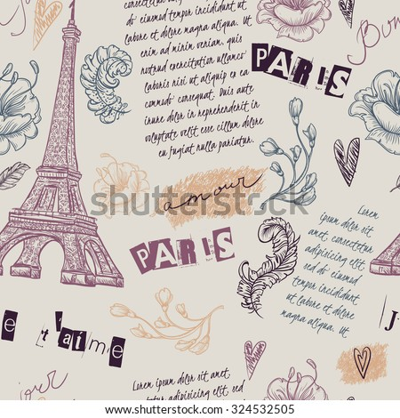 Paris. Vintage seamless pattern with Eiffel Tower, flowers, feathers and text. Retro hand drawn vector illustration.  - stock vector
