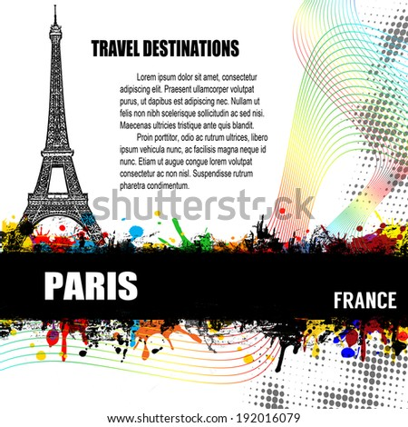 Paris, vintage travel destination grunge poster with colored splash and space for your text, vector illustration - stock vector