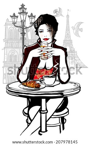 Paris - woman on holiday having breakfast at a terrace of a hotel - vector illustration - stock vector