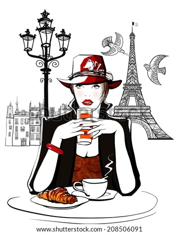 Paris - woman on holiday having breakfast at a terrace of an hotel - vector illustration - stock vector