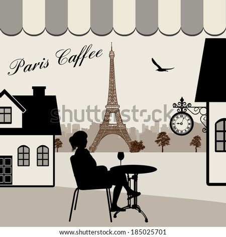 Parisian street restaurant with views of the Eiffel Tower, vector illustration - stock vector
