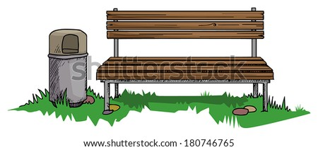Park bench with a bin, vector illustration - stock vector