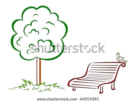 Park bench with a small bird costs under a green tree - stock vector