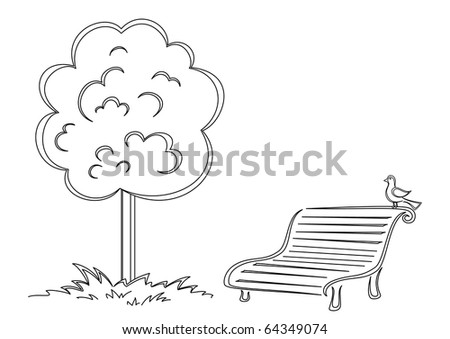 Park bench with a small bird costs under a tree, contours - stock vector