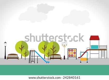 Park design over white background, vector illustration. - stock vector