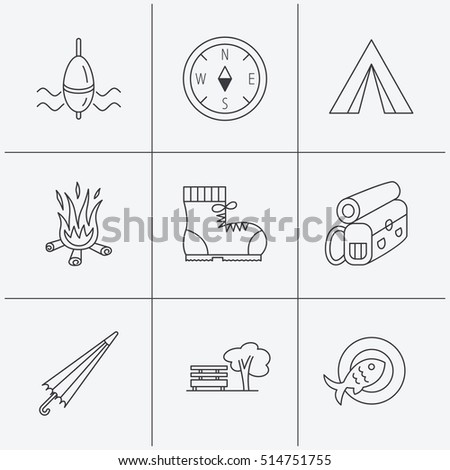Park, fishing float and hiking boots icons. Compass, umbrella and bonfire linear signs. Camping tent, fish dish and tree icons. Linear icons on white background. Vector