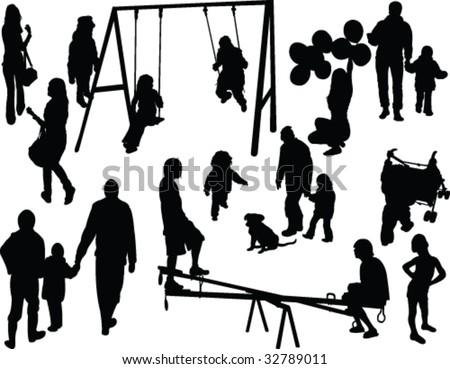 park for kids silhouette - vector - stock vector