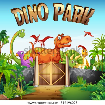 Park full of dinosaurs illustration - stock vector