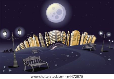 Park in the night. Cartoon and vector scene. - stock vector