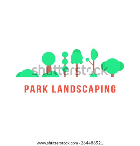park landscaping with trees and bushes. concept of beautification, mapping, urban furnishings, shrubbery, cityscape greenery, botany, village. flat style trendy modern design vector illustration - stock vector