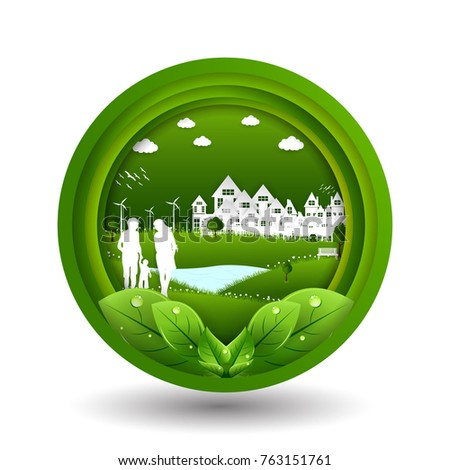 park on green town shape, origami concept and ecology idea, vector art and illustration.