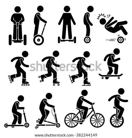 Park Ride Vehicles Stick Figure Pictogram Icons - stock vector