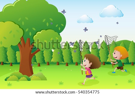 Park scene with two kids catching butterflies illustration