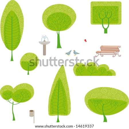 park set. Made your own park design with a set of trees and other park furniture - stock vector