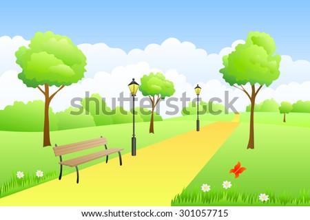 Park summer landscape day illustration vector - stock vector