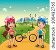 Park with young bikers. Funny cartoon and vector scene. - stock vector