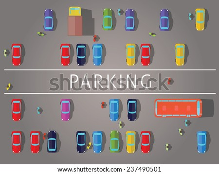 Parking and cars. Top view.Vector illustrations. - stock vector