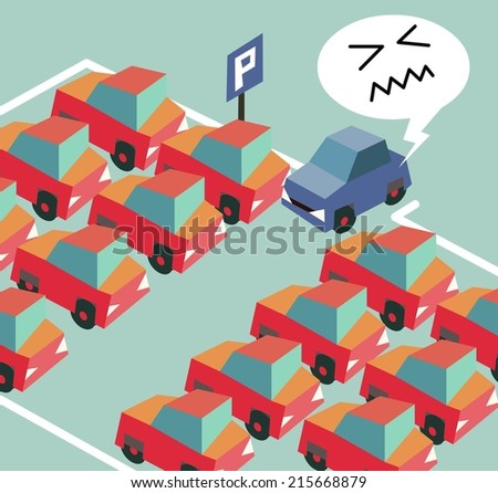 Parking crisis is a common problem. Flat vector illustration - stock vector