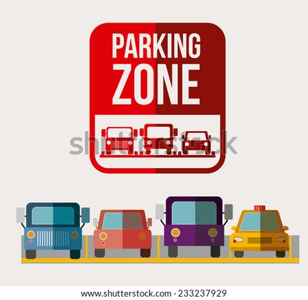Parking design over white background, vector illustration. - stock vector