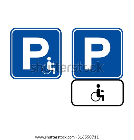 Parking for the disabled. Parking space. Sign of the parking lot. parking area. Road sign