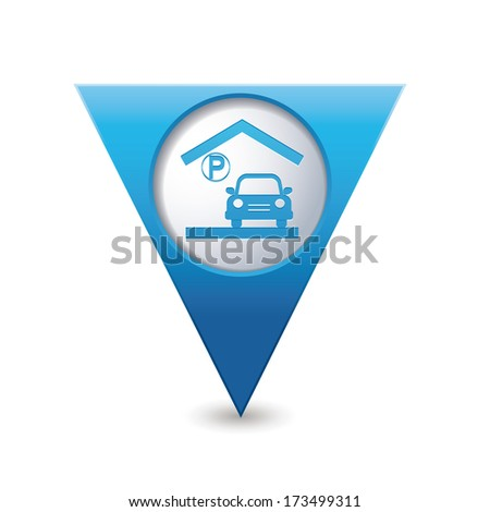 Parking garage sign on blue triangular map pointer. Vector illustration