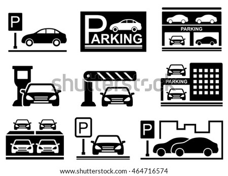 Parking Icons Set Cars Silhouette Parking Stock Vector 464716574
