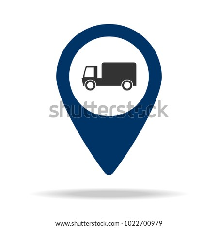 parking lot for freight in blue map pin icon. Element of map point for mobile concept and web apps. Icon for website design and development, app development. Premium icon on white background
