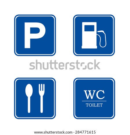 Parking sign. Set : toilet, WC,  gas station, coffee  . Parking area  - stock vector