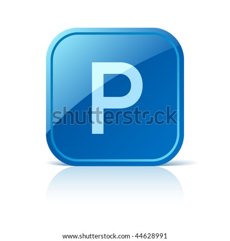 Parking sign. Vector icon on blue glossy square web button