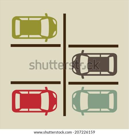 parking signal over  beige background vector illustration - stock vector