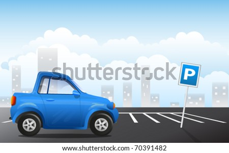 parking space with blue car - stock vector