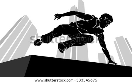Parkour Jump Silhouette with abstract city building background