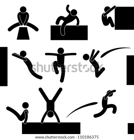 Parkour Man Jumping Climbing Leaping Acrobat Icon Symbol Sign Pictogram - stock vector