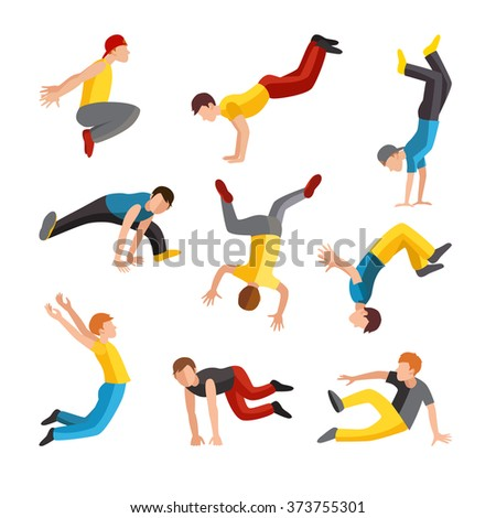 Parkour tricks extreme sport people vector silhouette. City sport parkour human pose. Parkour flat vector people jump, fall and run tricks - stock vector