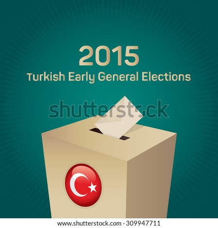 Parliamentary early elections in Turkey 2015. Gold Ballot Box - Turkish Flag Symbol, Green Background - stock vector