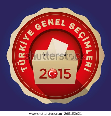 Parliamentary elections in Turkey 2015. English: Turkey General Elections. Turkey Map and Ballot Box - Turkish Flag Symbol, Blue Background - stock vector