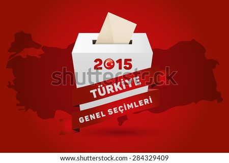 Parliamentary elections in Turkey 2015. English: Turkey General Elections. Turkey Map and Ballot Box - Turkish Flag Symbol, Black Background - stock vector