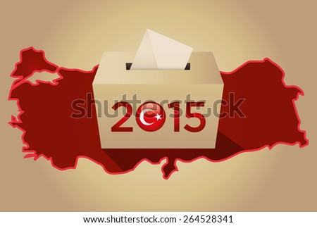 Parliamentary elections in Turkey 2015. Turkey Map and Ballot Box in a gold background - stock vector