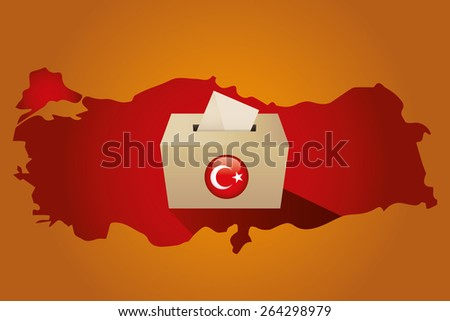 Parliamentary elections in Turkey 2015. Turkey Map and Ballot Box in a orange background - stock vector