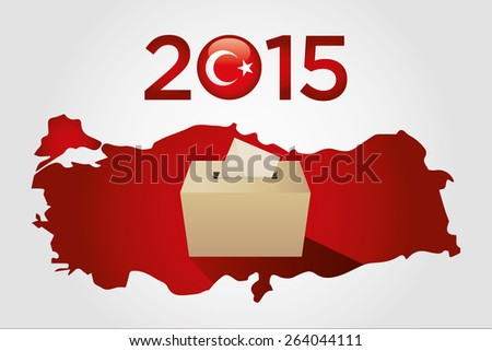 Parliamentary elections in Turkey 2015. Turkey Map and Ballot Box in a white background - stock vector