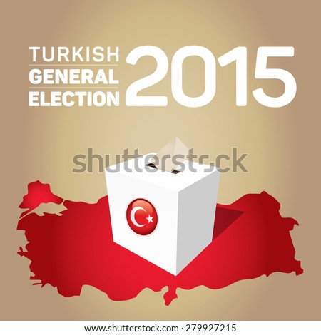 Parliamentary elections in Turkey 2015. Turkey Map and Ballot Box - Turkish Flag Symbol, Gold Background - stock vector