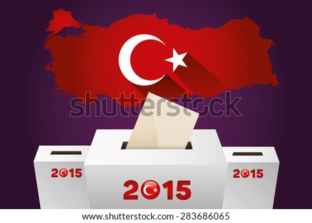 Parliamentary elections in Turkey 2015.Turkey Map and white Ballot Box - Turkish Flag Symbol, Purple Background - stock vector
