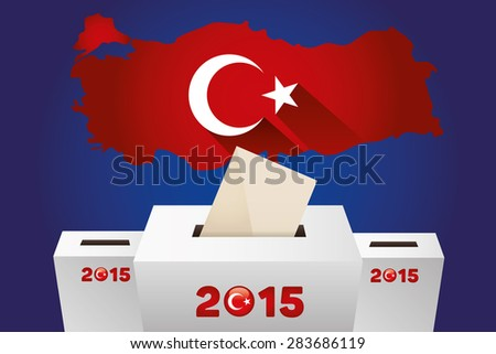 Parliamentary elections in Turkey 2015.Turkey Map and white Ballot Box - Turkish Flag Symbol, Blue Background - stock vector