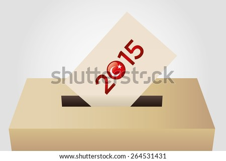 Parliamentary elections in Turkey 2015. Turkish Flag symbol and Ballot Box detail in a white background - stock vector