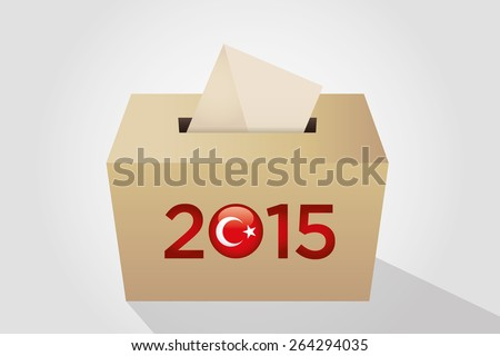 Parliamentary elections in Turkey 2015. Turkish symbol and gold election ballot box for collecting votes in a gray background. - stock vector