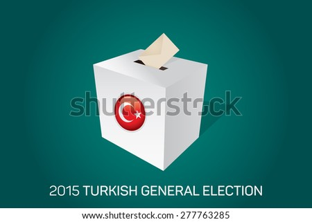 Parliamentary elections in Turkey 2015. White Ballot Box - Turkish Flag Symbol, Green Background - stock vector
