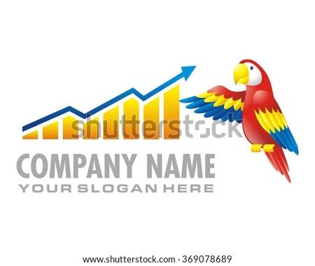 parrot bird diagram graph chart vector - stock vector