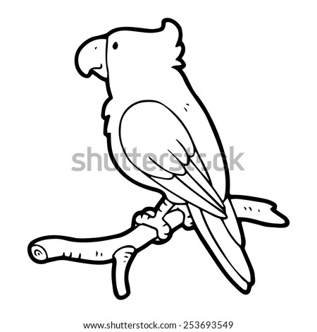 Parrot cartoon illustration isolated on white without color - stock vector