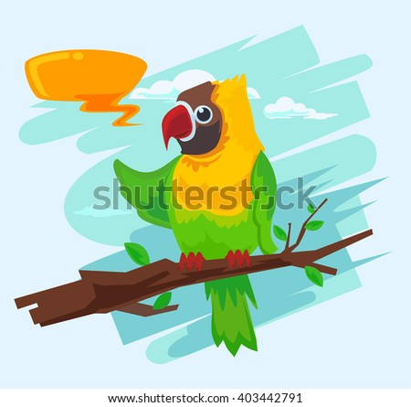 Parrot cartoon macaw. Vector flat illustration - stock vector