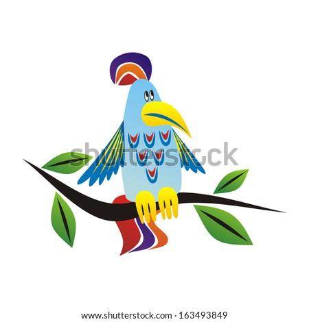 Parrot cartoon vector illustration - stock vector